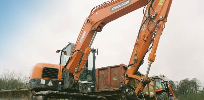 Hampshire Plant & Access machine on site preparation for Watercress Farm